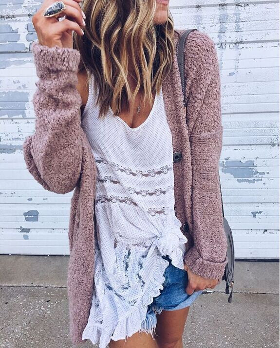 Fashionable Joker Loose Long-Sleeved Fluffy Coat Cardigan - Oh Yours Fashion - 2
