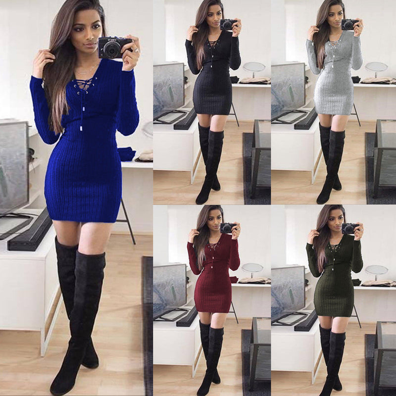 Lace Up V Neck Ribbed Long Sleeve Short Bodycon Dress - Oh Yours Fashion - 1