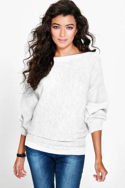 Fashion Loose Bat Sleeve Boat Neck Knit Women's Sweater - Oh Yours Fashion - 2