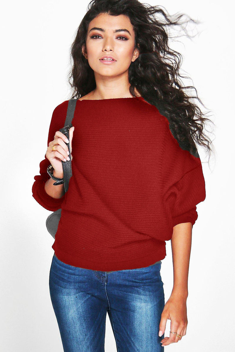 Fashion Loose Bat Sleeve Boat Neck Knit Women's Sweater - Oh Yours Fashion - 8