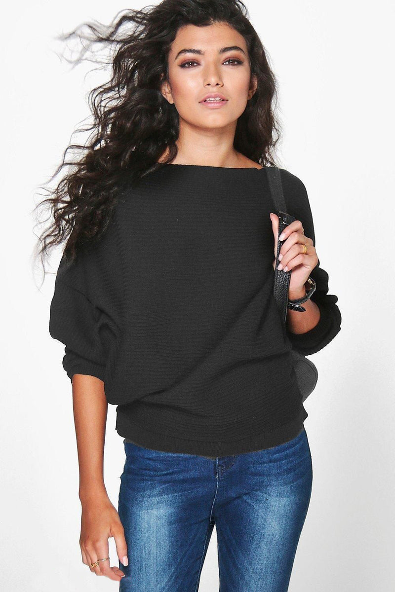 Fashion Loose Bat Sleeve Boat Neck Knit Women's Sweater - Oh Yours Fashion - 6