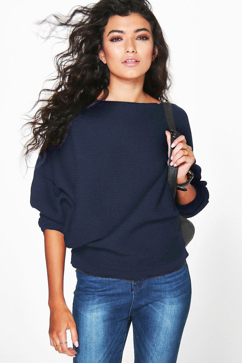 Fashion Loose Bat Sleeve Boat Neck Knit Women's Sweater - Oh Yours Fashion - 7