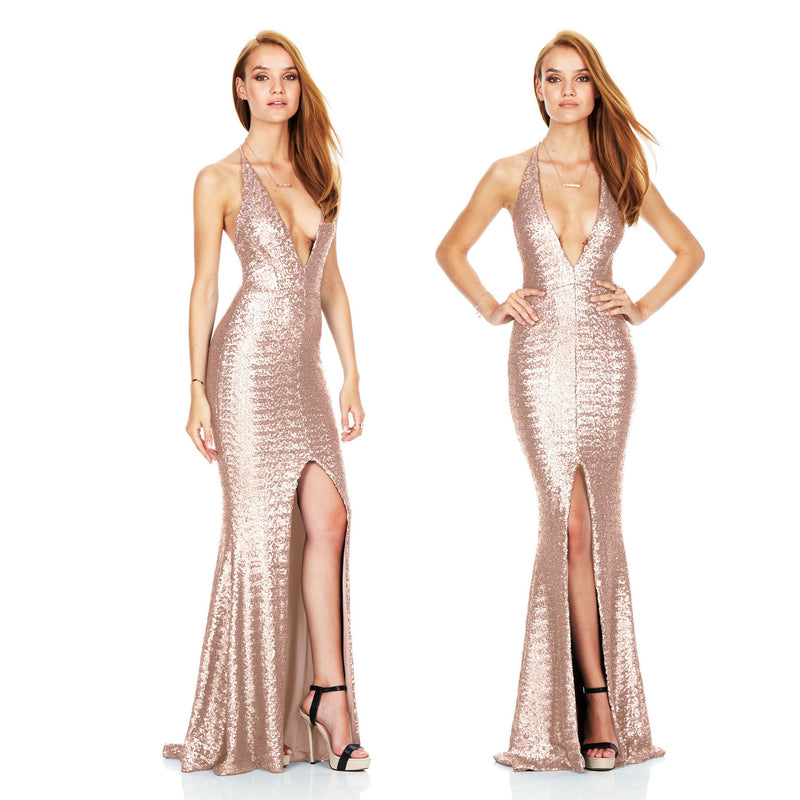 Sexy Open Back Sequined Deep V Club Dress - Oh Yours Fashion - 6