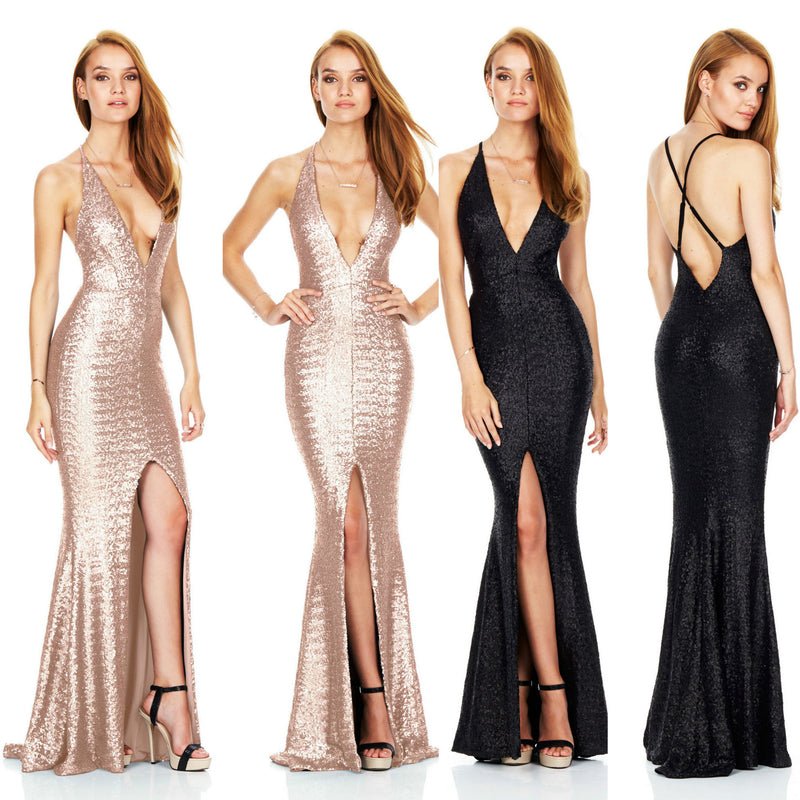 Sexy Open Back Sequined Deep V Club Dress - Oh Yours Fashion - 1