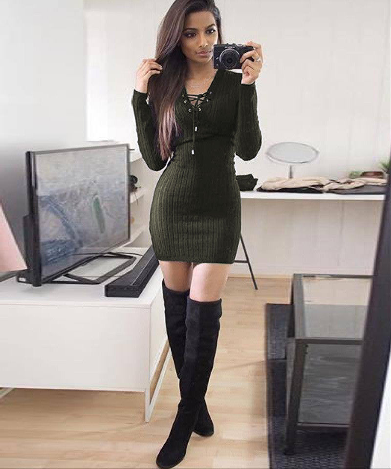 Lace Up V Neck Ribbed Long Sleeve Short Bodycon Dress - Oh Yours Fashion - 7