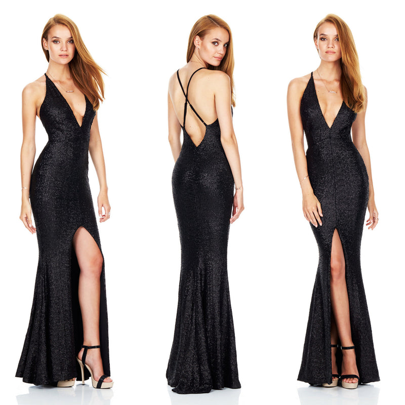 Sexy Open Back Sequined Deep V Club Dress - Oh Yours Fashion - 5