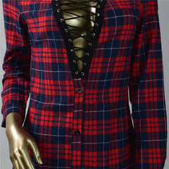Sexy Lace Up Plaid Shirt Long Sleeve Short Bodycon Dress - Oh Yours Fashion - 6