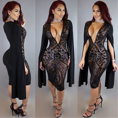 Long Split Sleeve Black Sequins Deep V Neck Bodycon Knee-Length Dress - Oh Yours Fashion - 1