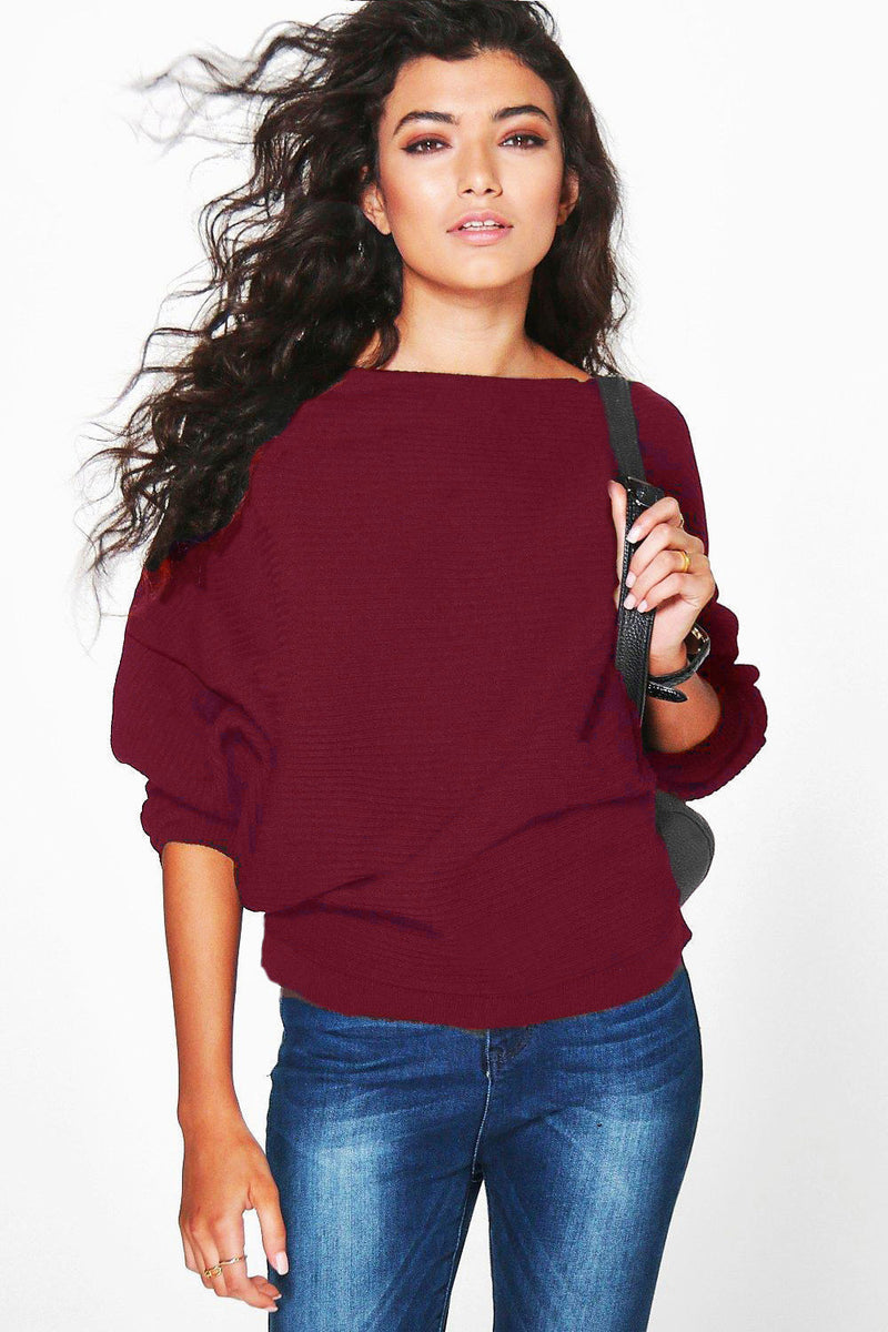 Fashion Loose Bat Sleeve Boat Neck Knit Women's Sweater - Oh Yours Fashion - 9