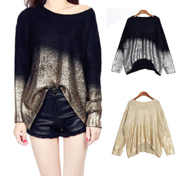 Bat Sleeve Scoop Loose Sequins Sweater - Oh Yours Fashion - 1