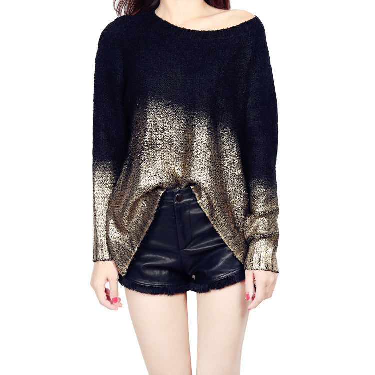 Bat Sleeve Scoop Loose Sequins Sweater - Oh Yours Fashion - 3