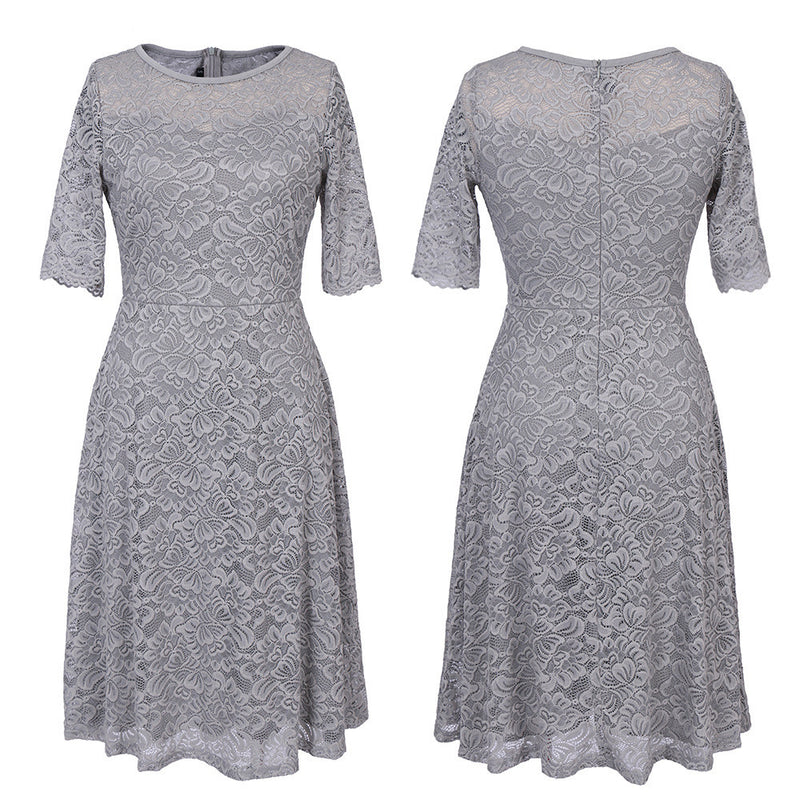 Elegant Floral Lace Short Sleeve Scoop Knee-Length Dress - Oh Yours Fashion - 7