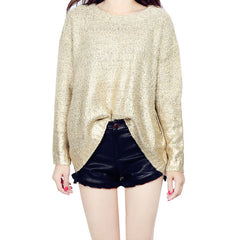 Bat Sleeve Scoop Loose Sequins Sweater - Oh Yours Fashion - 6