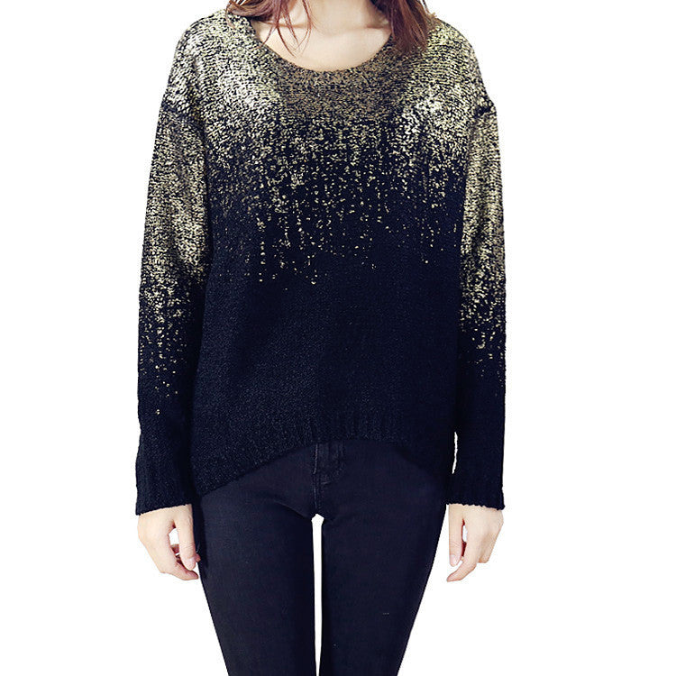 Bat Sleeve Scoop Loose Sequins Sweater - Oh Yours Fashion - 7