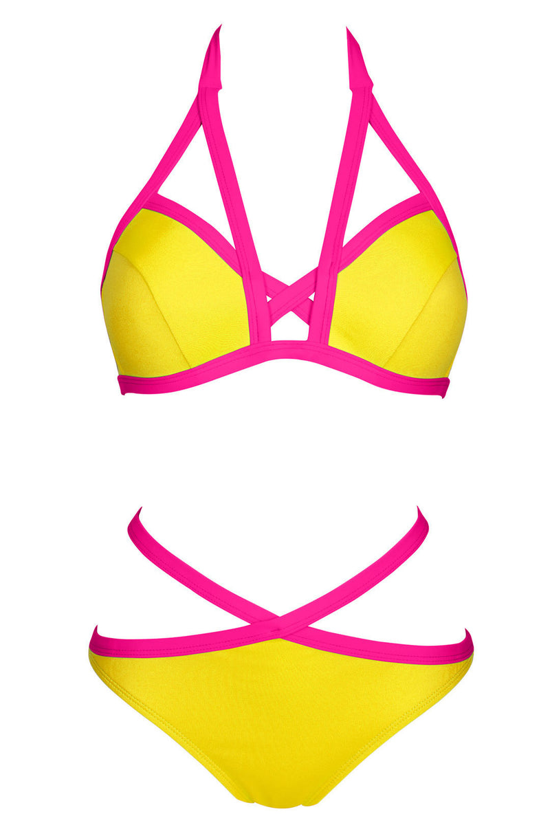 Contrast Color Bandage Halter Bikini - Oh Yours Fashion - 3