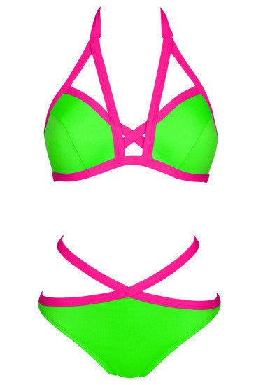 Contrast Color Bandage Halter Bikini - Oh Yours Fashion - 6