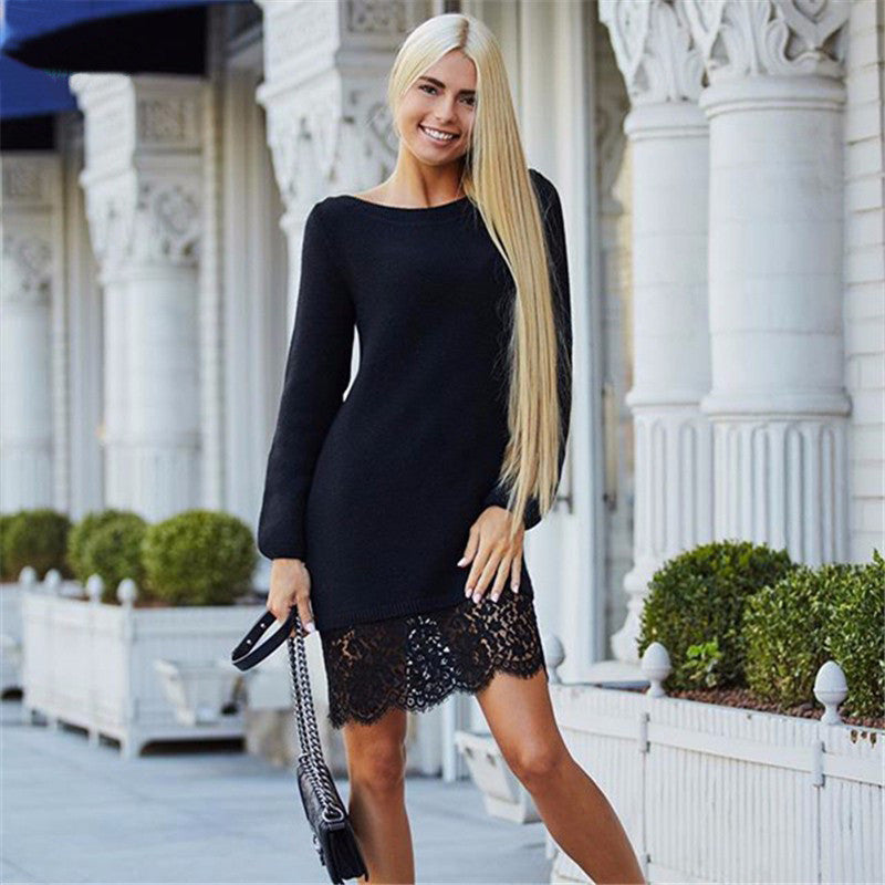 Fashion Lace Patchwork Long Sleeve Knee-length Dress - Oh Yours Fashion - 6