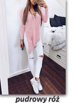 Fashion Cross Lace Up Irregular Side Slit Long Sleeve Blouse - Oh Yours Fashion - 3