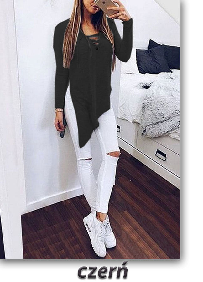 Fashion Cross Lace Up Irregular Side Slit Long Sleeve Blouse - Oh Yours Fashion - 6