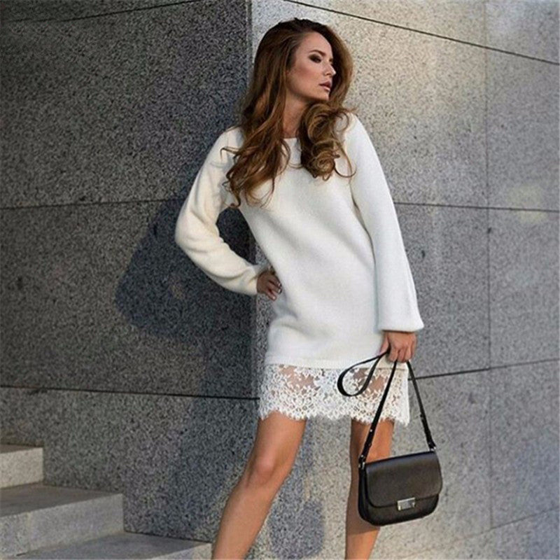 Fashion Lace Patchwork Long Sleeve Knee-length Dress - Oh Yours Fashion - 3