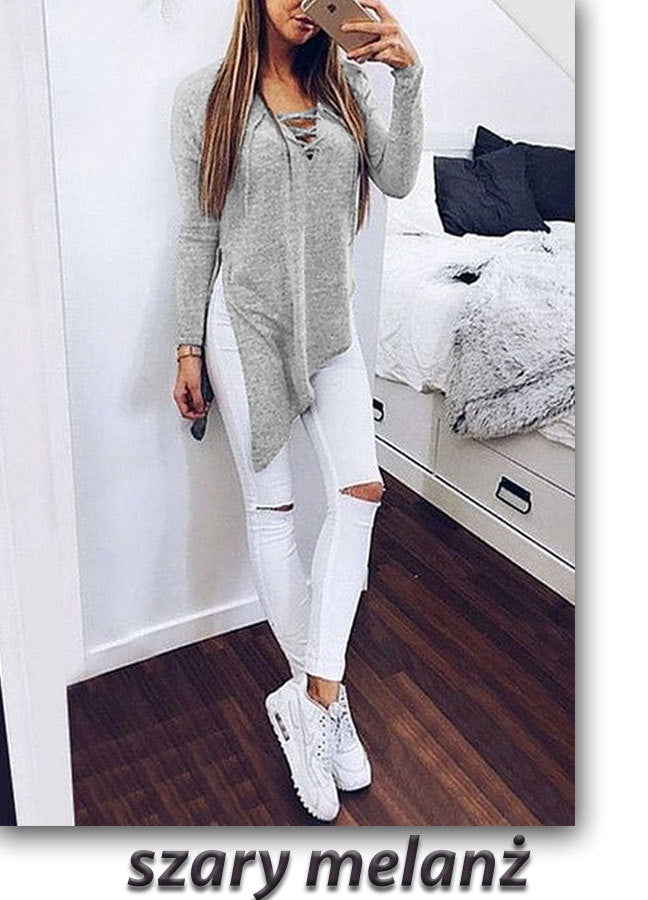 Fashion Cross Lace Up Irregular Side Slit Long Sleeve Blouse - Oh Yours Fashion - 5