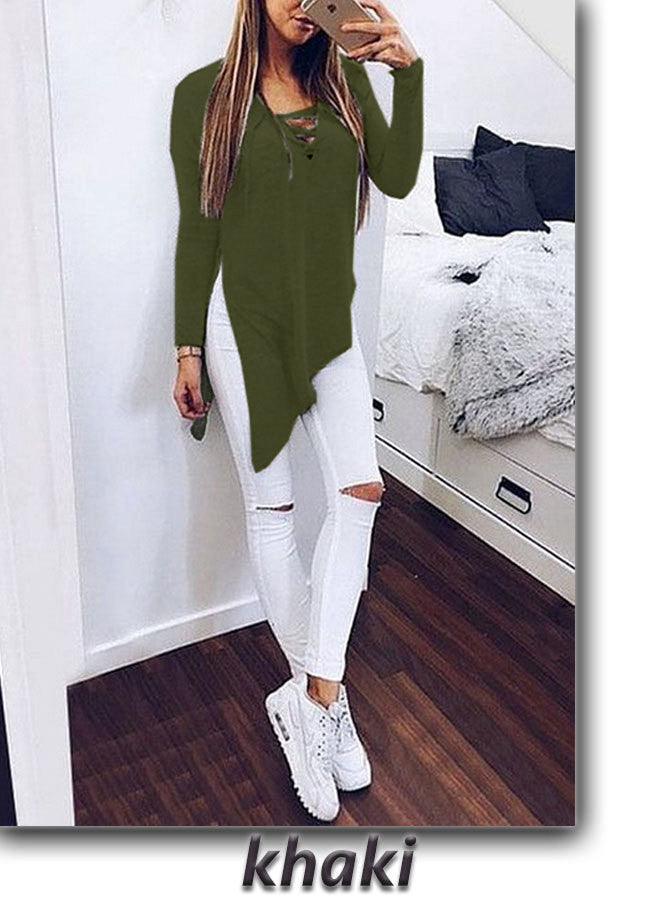 Fashion Cross Lace Up Irregular Side Slit Long Sleeve Blouse - Oh Yours Fashion - 7