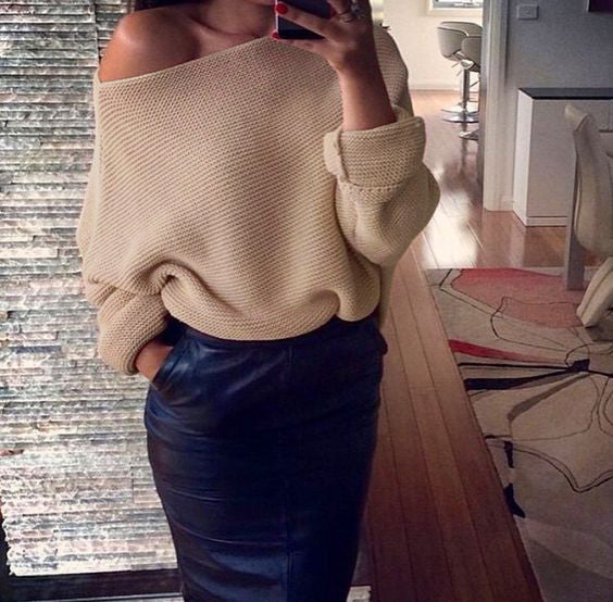 Off Shoulder Cross Grain Pure Color Sweater - Oh Yours Fashion - 8