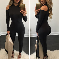 Bare Shoulder Long Sleeve Slim Long Jumpsuit - Oh Yours Fashion - 4