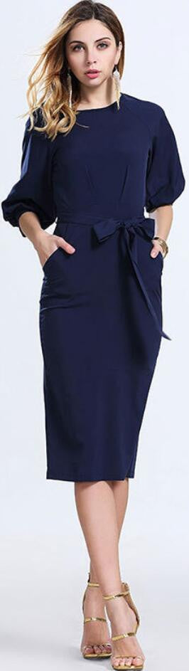 Royal Blue Office Knee-length Belt Dress - Oh Yours Fashion - 2