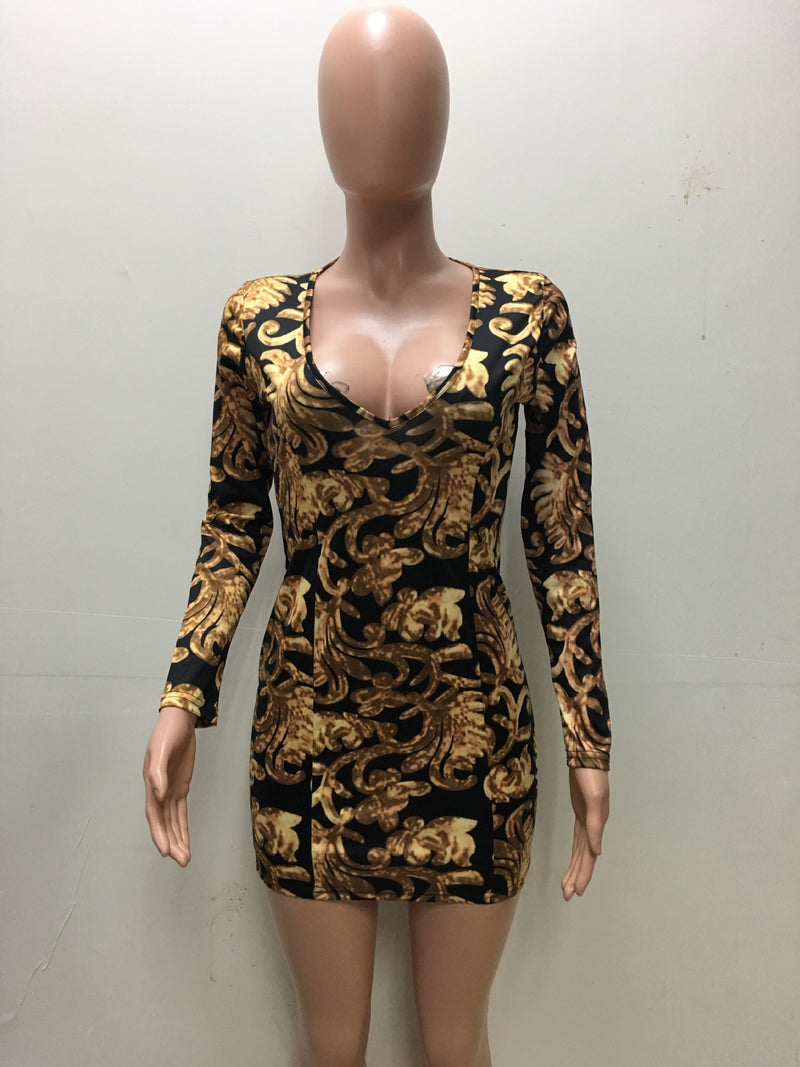 Floral Print Deep V Neck Long Sleeve Bodycon Short Dress - Oh Yours Fashion - 4