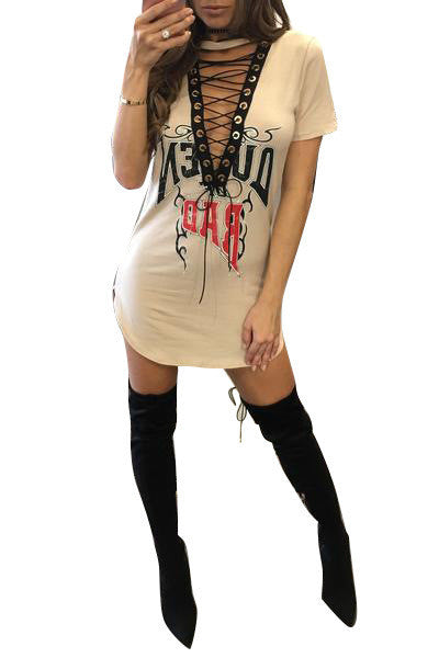 Deep V-neck Nightclub Fashion T-shirt Dress - Oh Yours Fashion - 4