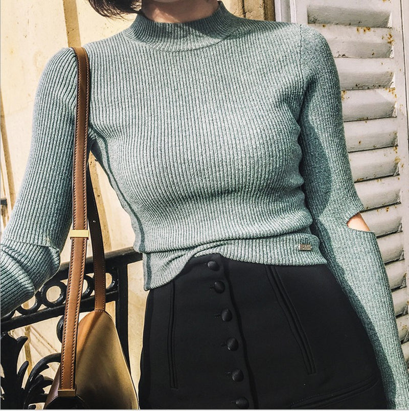 Fashon Long Sleeve High Neck Slit Long Sleeve Slim Knit Sweater - Oh Yours Fashion - 5