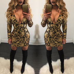 Floral Print Deep V Neck Long Sleeve Bodycon Short Dress - Oh Yours Fashion - 1