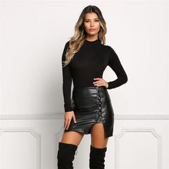 Black PU Lace Up Split Short Slim Skirt - Oh Yours Fashion - 4