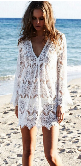 Lace V-neck Long Sleeve Short Bikini Cover Up Dress - Oh Yours Fashion - 2