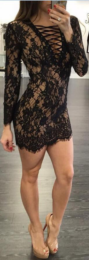 Fashion Sexy Bandage Lace Short Bodycon Dress - Oh Yours Fashion - 2