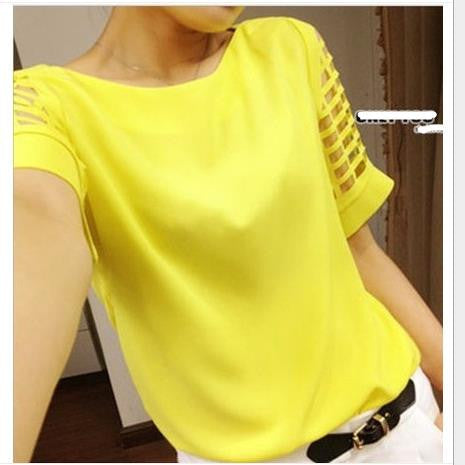Scoop Short Sleeves Pure Color Casual Plus Size T-shirt - Oh Yours Fashion - 1