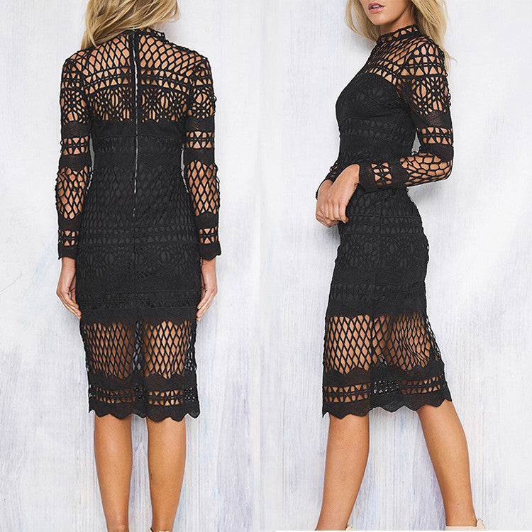 Hollow Out Lace Long Sleeves Knee-length Dress - Oh Yours Fashion - 5