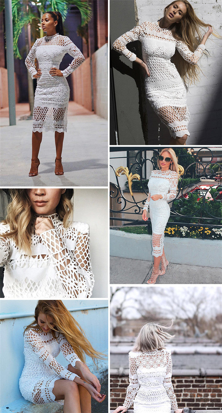 Hollow Out Lace Long Sleeves Knee-length Dress - Oh Yours Fashion - 4