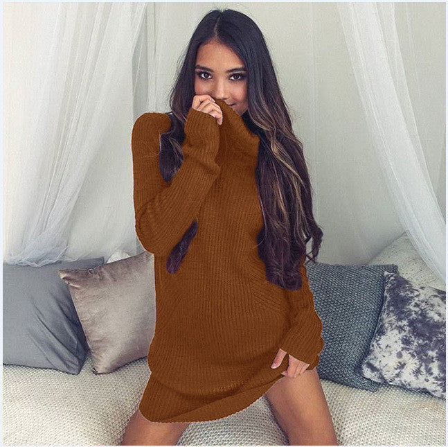 Sexy Turtle Neck Long Sweater Dress - Oh Yours Fashion - 11