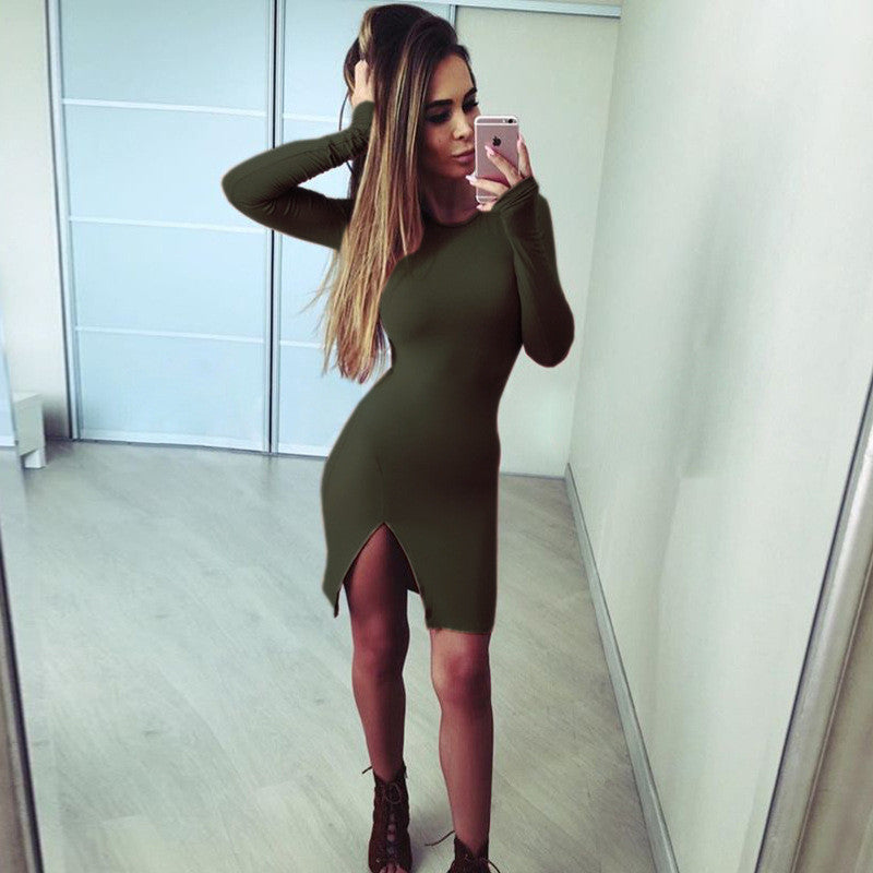Sexy Side Slit Long Sleeve Scoop Bodycon Short Dress - Oh Yours Fashion - 7