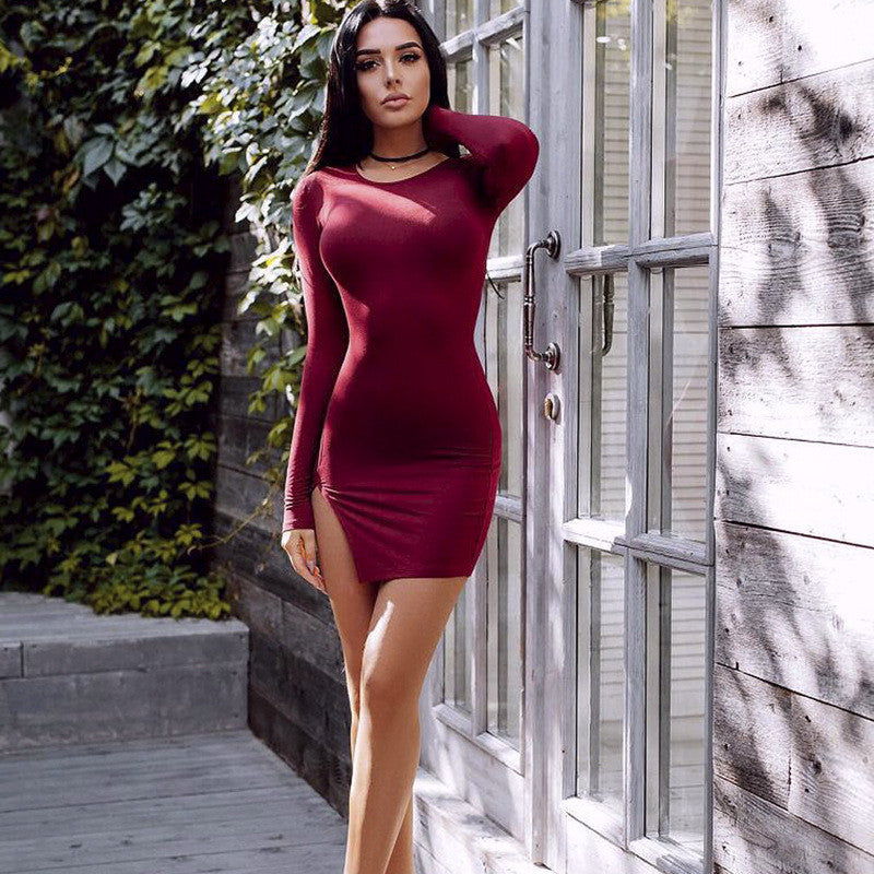 Sexy Side Slit Long Sleeve Scoop Bodycon Short Dress - Oh Yours Fashion - 8