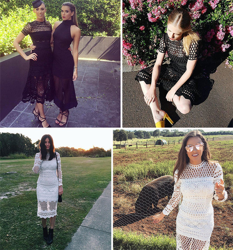 Hollow Out Lace Long Sleeves Knee-length Dress - Oh Yours Fashion - 6