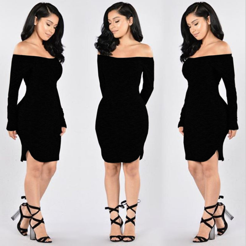 Fashion Sexy Off Shoulder Knitting Irregular Dress - Oh Yours Fashion - 5