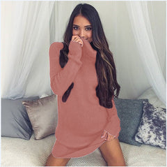 Sexy Turtle Neck Long Sweater Dress - Oh Yours Fashion - 6