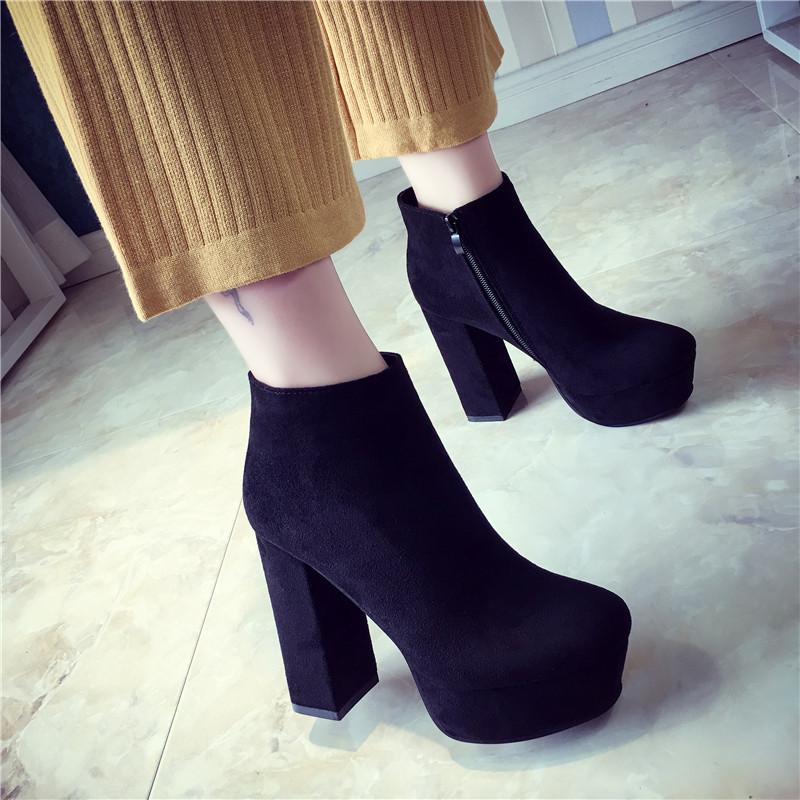 3152f494951 Side Zipper Pointed Toe Platform High Chunky Heels Short Boots – Oh ...