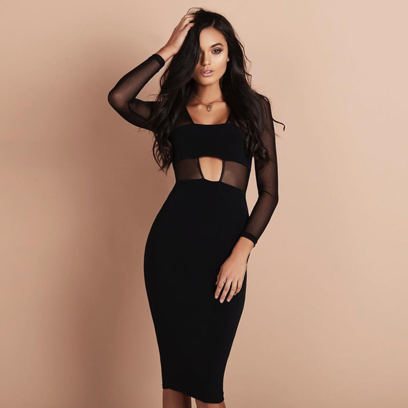 Black Mesh Patchwork Hollow Out Bodycon Knee-length Dress - Oh Yours Fashion - 1