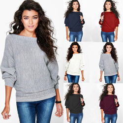 Fashion Loose Bat Sleeve Boat Neck Knit Women's Sweater - Oh Yours Fashion - 3