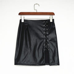 Black PU Lace Up Split Short Slim Skirt - Oh Yours Fashion - 8