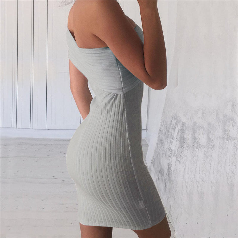 Sexy One Shoulder Bodycon Short Dress - Oh Yours Fashion - 4